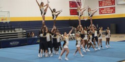 Texas Wesleyan's cheerleaders perform at Midnight Madness on Saturday. Photo by Hannah Onder