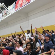 The crowd at Midnight Madness catches giveaway items thrown by the Ram Squad. Photo by Hannah Onder