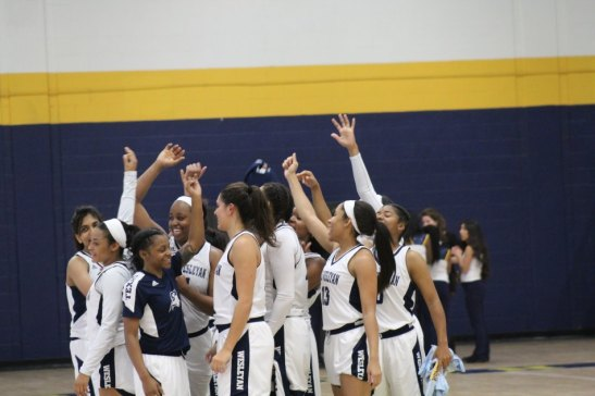 The women's basketball team breaks out after their 83-58 Saturday win against the Drovers. Photo by Hannah Onder