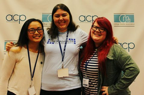 Tina Huynh, Hannah Onder, and Shaydi Paramore pose together at the Associated Collegiate Press and Collegiate Media Association conference in Dallas, Texas.