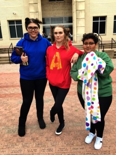 Hannah Onder, Alanna James, and Paola Estrada win best group costume at The Rambler Halloween party. Photo by Shaydi Paramore