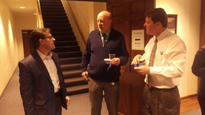 Dr. Mark Hanshaw (left) greets Dr. Steven Daniell and President Frederick Slabach at his goodbye party. Photo by Hannah Onder