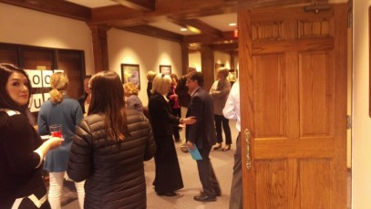 Dr. Mark Hanshaw talks with Dr. Carol Johnson-Gerendas at his come and go farewell gathering. Photo by Hannah Onder