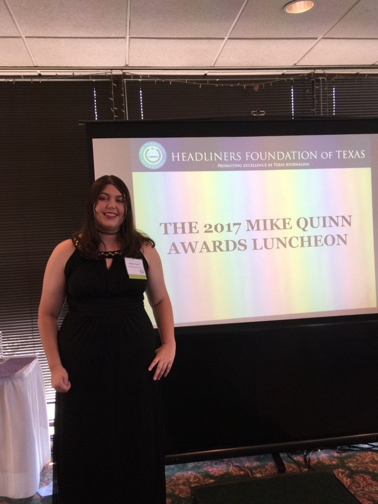 Hannah Onder is honored at Headliners Foundation of Texas's 2017 Mike Quinn awards luncheon. Photo by Melanie Onder