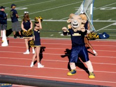 Willie the Ram finishes a performance with the cheerleaders during the third quarter. Photo by Hannah Onder