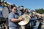 Junior music major Javy Careaga plays the cymbals for the Ram Band during homecoming. Photo by Hannah Onder