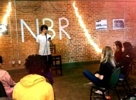 Adam Peters performs at Naked But Real on Oct. 5 in the Baker Building. Photo by Hannah Onder