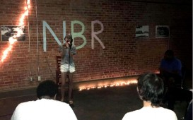 """""""The Golden Buzzer"""" Alli Perez performs """"True Colors"""" at the Baker Building. Photo by Hannah Onder"""