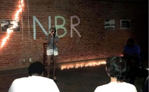 """The Golden Buzzer"" Alli Perez performs ""True Colors"" at the Baker Building. Photo by Hannah Onder"