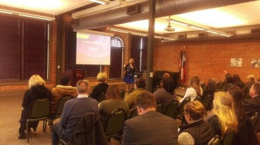 Dr. Heidi Taylor speaks about the Graduate School of Health Professions. Photo by Hannah Onder